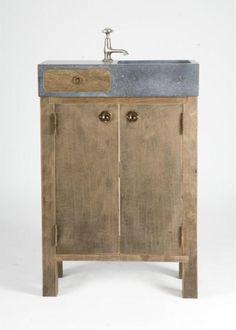 Badkamermeubels op maat gemaakt van oud hout en natuursteen oude bouwmaterialen bij jan van - Badkamermeubels steen ...