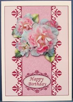 Card Front Delicate Roses on Craftsuprint designed by Carol James - made by Cheryl French - Printed onto glossy photo paper. Attached base image with ds tape. Built up image with 1mm foam pads. - Now available for download!