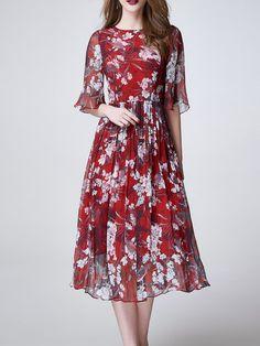 Shop Midi Dresses - Red Elegant Crew Neck Floral Midi Dress online. Discover…