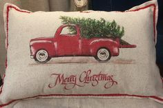 Christmas Pillow, farmhouse,, Red truck with Christmas tree, rustic, farm, barn 12x18