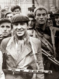 Hungarian Revolution 1956.  Optimism and smiles at first, but the Soviets crushed the rebellion eventually.