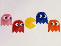 Pacman & Ghosts Perler Bead Sprite Set  5 by PhoenixEchoCreations, $10.00