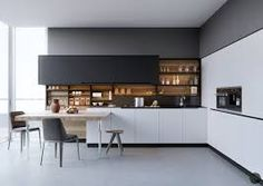 Image result for black, white and timber kitchens 2018