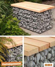 Warum auf heißen Kohlen sitzen, wenn es auch gemütlich im Garten auf der Gabionenbank von OBI geht. Für mehr Ideen schaut bei uns auf der Website vorbei