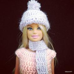 touca e cachecol para boneca - LiiArt