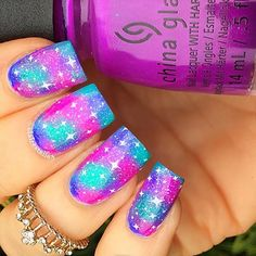 """The prompt for today is fave song and I've chosen Night Swimming by R. At a May Ball at uni a group of us made a TOTALLY non-…"" Sparkly Nails, Fancy Nails, Pretty Nails, Glow Nails, Diy Nails, Nails For Kids, Summer Acrylic Nails, Cute Nail Art, Stylish Nails"