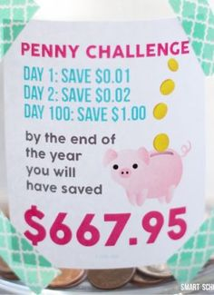 Penny Challenge - Page 2 of 2 - Smart School House Valentine Bouquet, Valentines, Savings Challenge, 365 Penny Challenge, Money Challenge, Challenge Coins, Savings Plan, Smart School, Silly Putty
