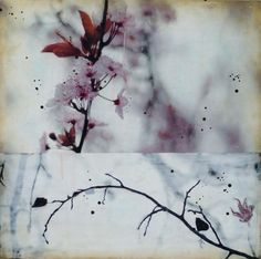 Paintings by Northwest Artist, Nichole DeMent Wind your Way Up || Encaustic mixed media || 16 x 16 x 1 || $ 525