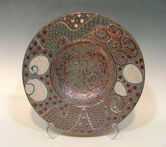 "15"" Abstract Fine Art Raku Pottery Bowl"