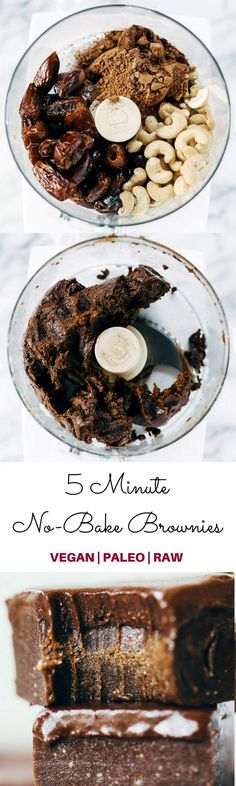 Ultimate No-bake Raw brownies- made in 5 minutes in a food processor- soft, chewy, healthy, chocolate brownies made with real raw ingredients! Paleo, vegan, sugar free, and raw.