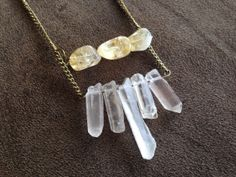 Quartz crystal and citrine necklace  by thisthatandthese on Etsy, $22.00