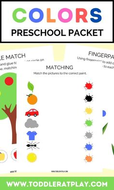 This Colors Preschool Packet has 5 pages of fun, color-themed activities. In this packet you'll find matching, spelling and more! #colorsprintables #learningcolors #preschoolpacket Activities For 2 Year Olds, Preschool Learning Activities, Indoor Activities For Kids, Preschool Printables, Toddler Preschool, Preschool Activities, Early Learning, Kids Learning, Learning Colors