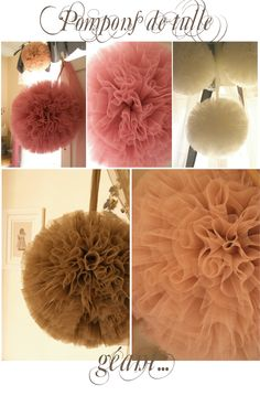 Tulle Pom Poms. Pretty pretty! I love these...so they might be at every birthday party for my daughter!!