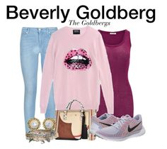 """Beverly Goldberg - The Goldbergs"" by nerd-ville ❤ liked on Polyvore featuring American Vintage, 7 For All Mankind, Markus Lupfer, River Island, NIKE, Kendra Scott and Aéropostale"