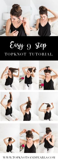 Easy 9 step topknot messy bun tutorial. Use Dry shampoo to add volume and thickness, like this one from @ApotheCARE from @CVS! #SpringIntoCVS #ad