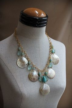 GIFT FROM the SEA Aquamarine Gold Shell Necklace  /75