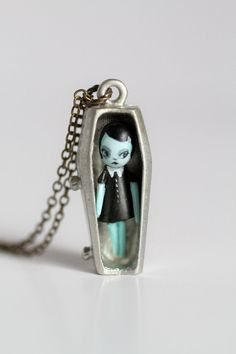 Emilla - miniature stone clay vampire art doll in teeny coffin cameo setting  - by Mab Graves via Etsy