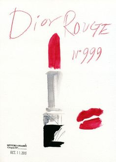 Dior Rouge by Miyuki Ohashi Dior Lipstick, Red Lipsticks, Lipstick Kiss, Makeup Lips, Alphonse Mucha, Pablo Picasso, Graphic Illustration, Vintage Posters, Fashion Art
