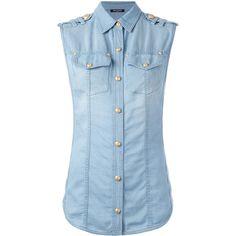 Balmain Denim Sleeveless Shirt ($625) ❤ liked on Polyvore featuring tops, denim blue, sleeveless shirts, sleeveless button front shirt, balmain, button front shirt and shirt top