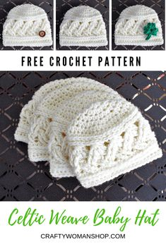 Crochet some Celtic style for your little one with this FREE crochet baby hat pattern. This pattern is quick to work up and offered in multiple baby sizes! Crochet Baby Hats Free Pattern, Crochet For Kids, Free Crochet, Quick Crochet, Crocheted Baby Hats, Crochet Ideas, Baby Clothes Patterns, Crochet Baby Clothes, Baby Patterns