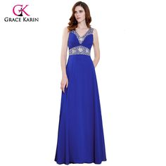 >> Click to Buy << Grace Karin Long Prom Dresses 2017 V Neck Chiffon Spaghetti Strap Royal Blue Formal Gowns Special Occasion Dresses Evening Party #Affiliate