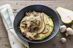 Polenta crémeuse au gorgonzola et poire fondante