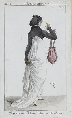 English fashion plates from 1802, and French fashion plates from Year 10 (1801-1802) of the French Republican Calendar. All images come from the collection of the Bibliothèque des Arts Décoratifs.  www.lesartsdecoratifs.fr/francais/bibliotheque/