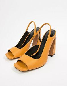 63556451fe6f1a ASOS DESIGN Hinton Premium Leather Block Heeled Sandals at asos.com