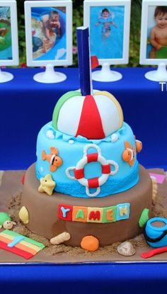 Pool birthday party cake!  See more party planning ideas at CatchMyParty.com!