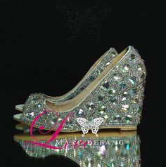 e44c6f046a17af Luxury Genuine leather AB Crystal Snow Diamond Peep Toe by MDNY