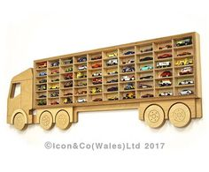 Toy Car Storage 'Truck' Shelf, Model Car Shelving Unit, Lorry shaped Cubby Hole Storage Display. Holds 60+ Cars. Laquered Birch Plywood