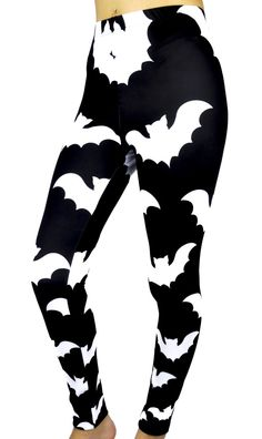 "Release The Bats Black & White Flying Bats Leggings Elastic waistband. Polyester & Spandex. Original design by Dysfunctional Doll. Small/Medium - Waist : 22"" inches to 28"" inches Hips : 32"" inches to"