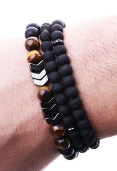 Özel Tasarım Doğal Taş Kombin Erkek Bileklik BLK1135 - Men Bracelet