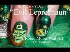 Dazzle Dry's Dragonfly and Pixie Green w/Envy in Evil Leprechaun Nail Art by Robin Moses for St. Paddy's Day