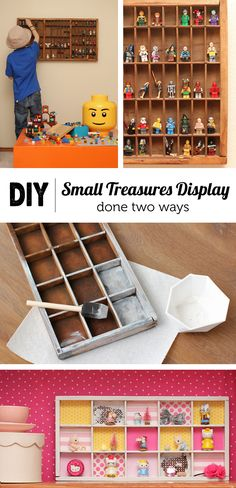 & Simplify: Display Solutions for Tiny Treasures Love this project - two lovely options for displaying kids collections.Love this project - two lovely options for displaying kids collections. Boy Room, Kids Room, Lego Display, Display Cases, Display Shelves, Lego Storage, Kids Storage, Tiny Treasures, Toy Organization