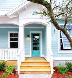 Creative and Colorful Paint Combos for Your Home exterior. Blue teal palette #curbappeal