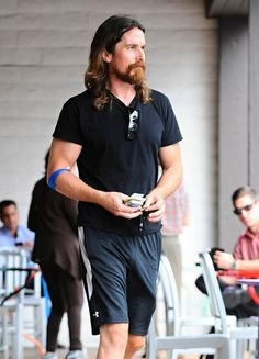 Christian Bale out and about apparently after having blood taken. July 2015