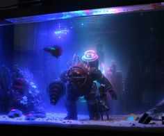 One Reddit user made his own 10-gallon BioShock-inspired fish tank, recreating Rapture for his home aquarium, complete with a Big Daddy and Little Sister, for his sole fish, a Betta.