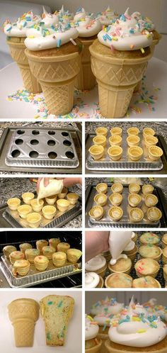 Ice cream cone cupcakes. Bake reg cupcake mix in reg cones for reg time.. ice when cool.. To create pan.. get a pack of 2 from the dollar store. Poke holes with a sharp knife then cut circles with scissors just a tiny bit bigger than bottoms of cones. Make 2.. one for baking.. and one for setting them in after iced. (Instead of cutting holes use a mini cupcake pan, works great.)