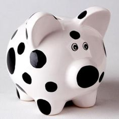 Cow print pig piggy bank ceramic saving box, white and black piggy coin bank