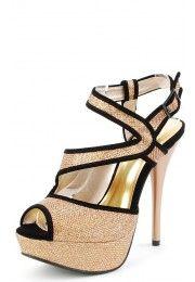 Dazzling14 Glitter Velvet Trim Strappy Heels BRONZE