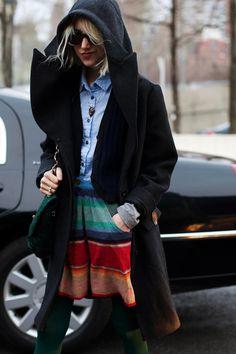 hooded jacket, striped skirt