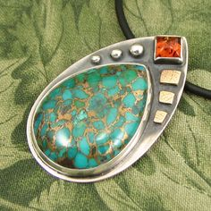 """Copper Turquoise pendant - """"Mosaic Process"""" sterling with Amber stone and textured brass - OOAK by marybird on Etsy"""