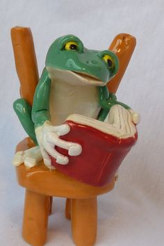 Ceramic Frog Reading Book on Chair / Animal Sculpture