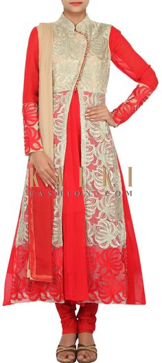 Buy Online from the link below. We ship worldwide (Free Shipping over US$100) http://www.kalkifashion.com/catalog/product/view/id/14848/s/red-anarkali-jacket-suit-embellished-in-resham-and-zari-only-on-kalki/