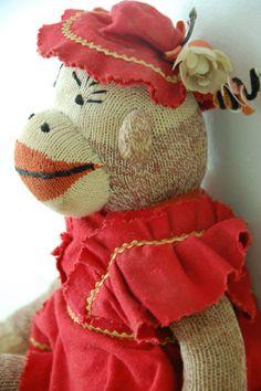 Vintage Sock Monkey in Her Sunday Best. $20.00,