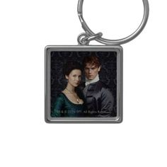 Outlander Claire And Jamie Damask Portrait Keychain, Adult Unisex, Size: Small Lavender Blush / Pale Blue / Sea Shell Outlander Clothing, Caitriona Balfe Outlander, Drums Of Autumn, Outlander Tv Series, Charm Rings, Jamie Fraser, Gifts For Dad, Damask, Note Cards
