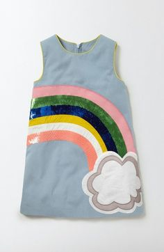 Free shipping and returns on Mini Boden Fun Shift Dress (Toddler Girls, Little Girls & Big Girls) at Nordstrom.com. The sequin stripes of an appliqué rainbow shine from the front of a wonderfully delightful dress woven from soft cotton.