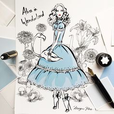 On the desk: My version of Alice In Wonderland for a very special client...