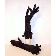 Glamorous C.1960 Black Satin Evening Gloves With Ribbon Cuffs ❤ liked on Polyvore featuring accessories, gloves, cocktail gloves, satin gloves, stretch satin gloves, stretch gloves and evening gloves